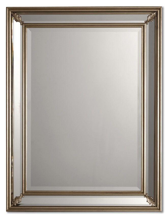 Uttermost Jansen Silver Mirror Lighted Wall Mirror Modern Mirror Wall Mirror Wall