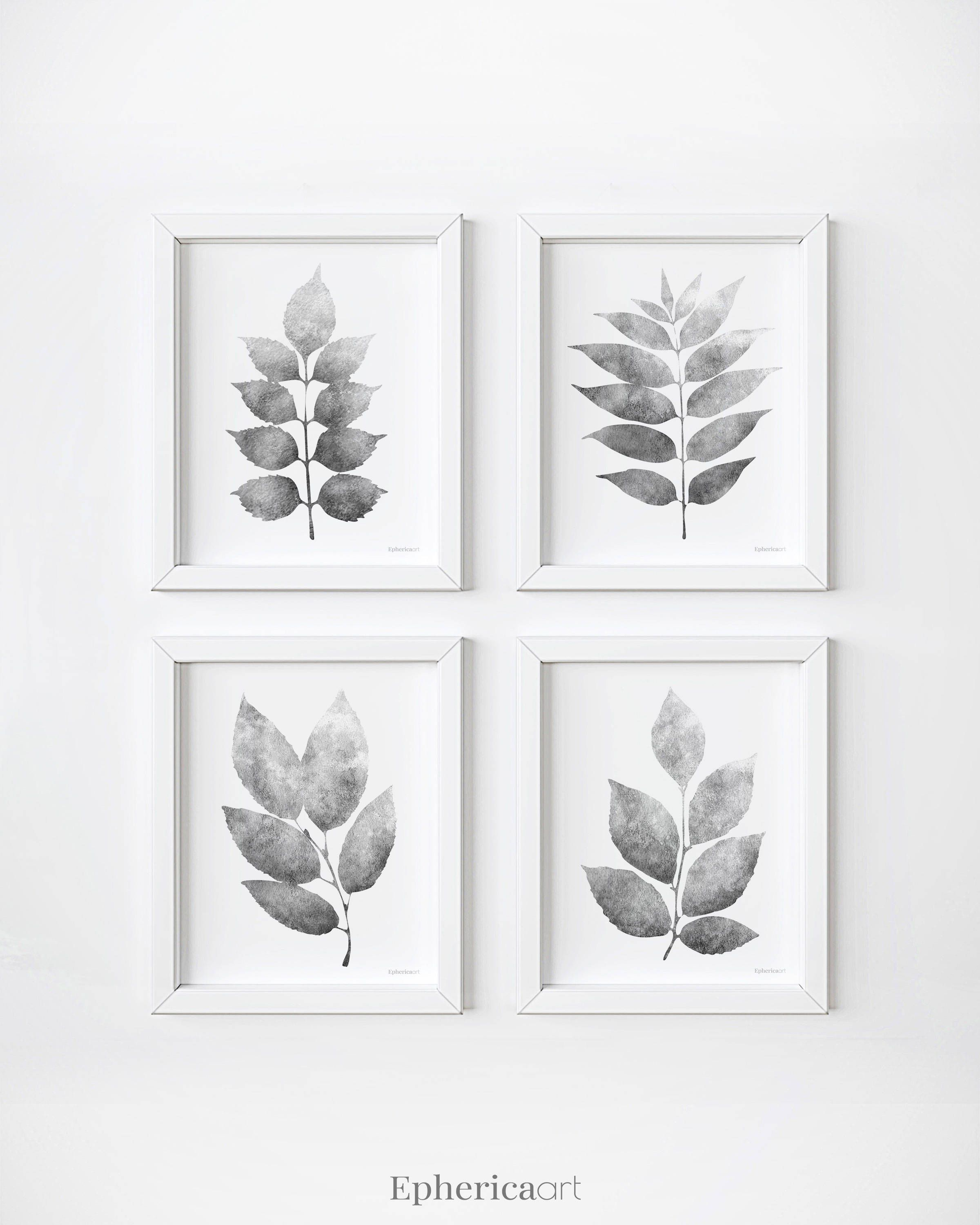Set of 4 wall prints grey leaves gallery wall printable botanical print set black and white plants prints 4 piece wall decor set 5x7 8x10 by ephericaart