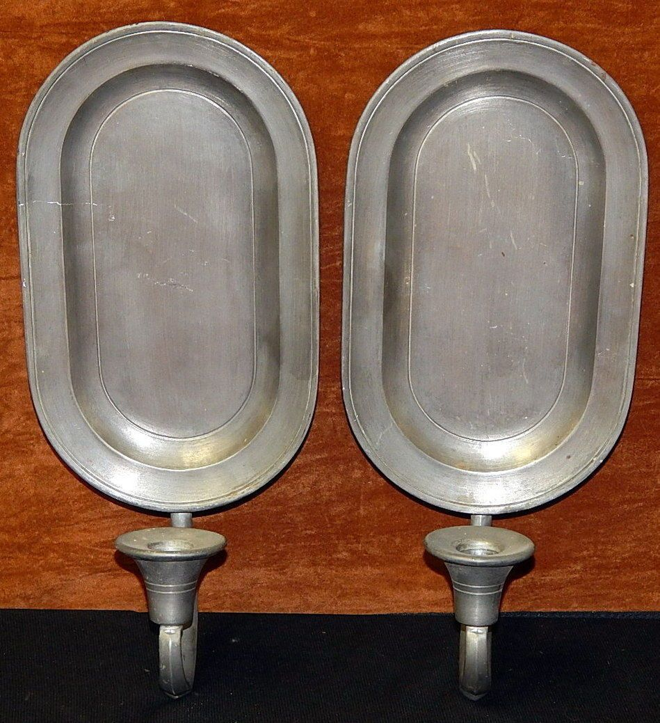 Pair Vintage Colonial Casting Co Pewter Wall Sconces ... on Vintage Wall Sconce Candle Holder Decorating Ideas id=78506