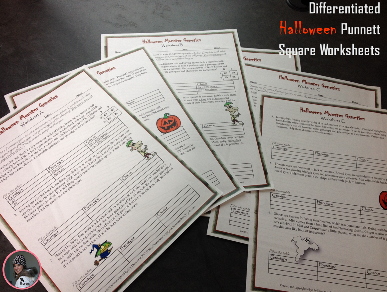 worksheet Genetics And Probability Worksheet genotype and phenotype punnett square worksheets with halloween celebrate in science class these fun challenging differentiated genetics worksheets