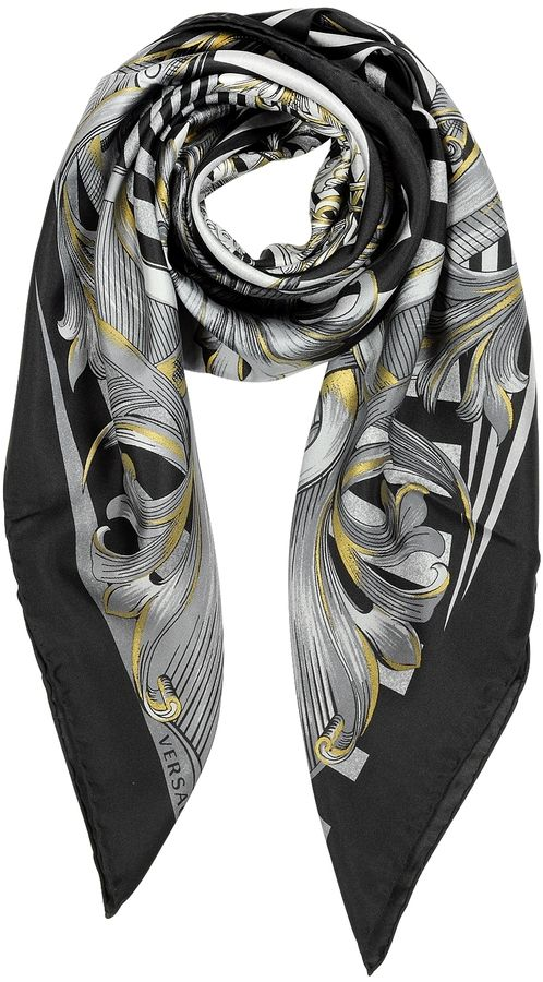 c2f8794614a Versace Black and Grey Optical Print Silk Square Scarf