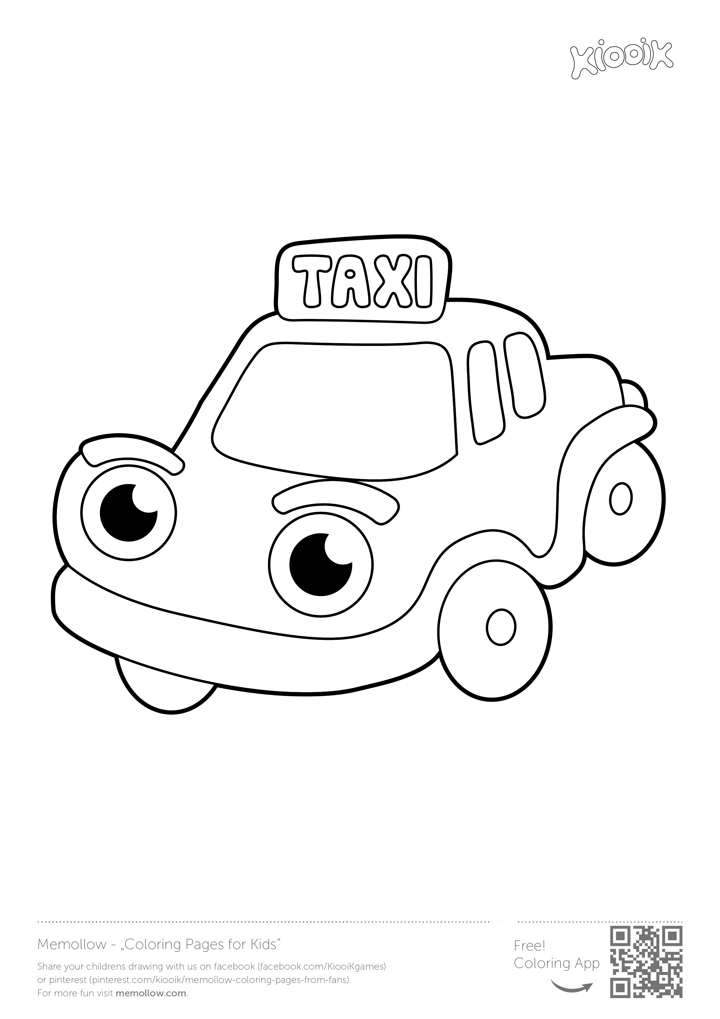 Taxi memollow to print coloring pages for kids printables