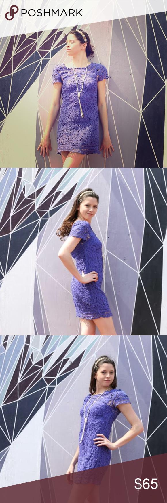 Designer Blue Crochet Dress size XS Designer Blue Crochet Dress size XS Romeo & Juliet Couture Dresses Mini