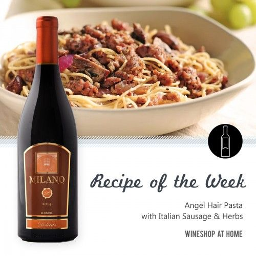 This #recipe for Angel Hair Pasta with Italian Sausage and Herbs pairs perfectly with the Milano Cellars 2014 California Dolcetto.   Read the recipe here: http://wsah.org/3kt