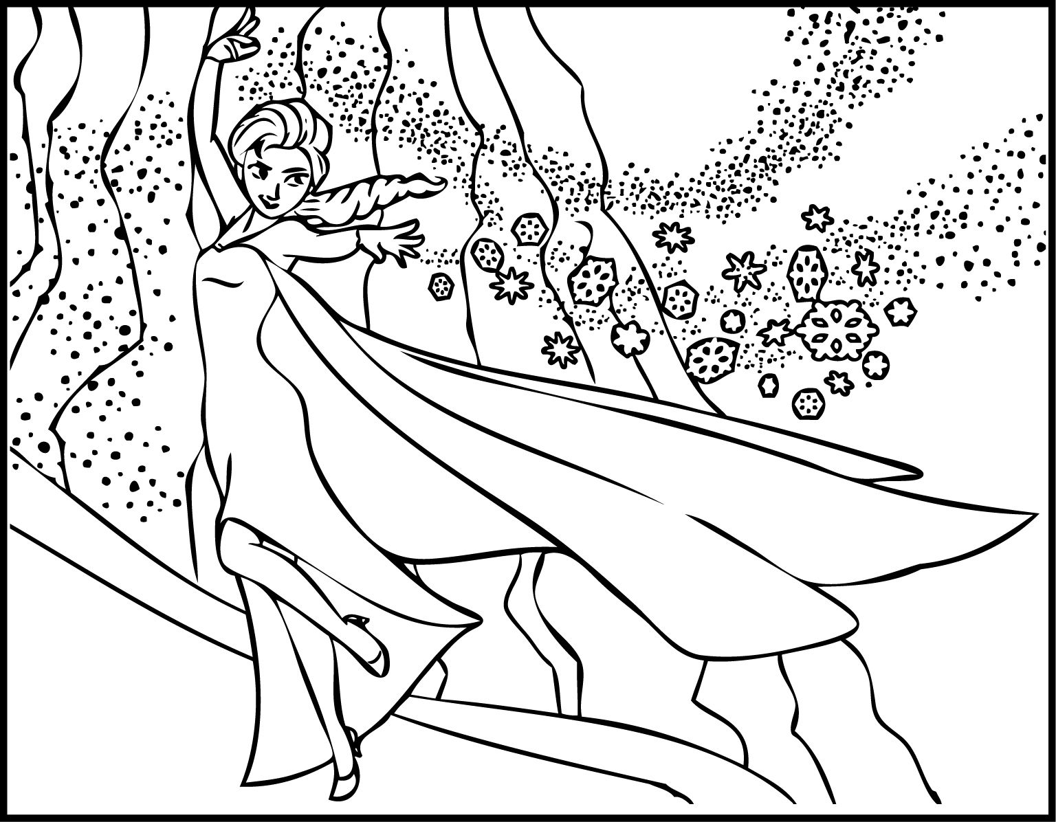 nice Elsa the Snow Showing Magic Coloring Page | Tegninger