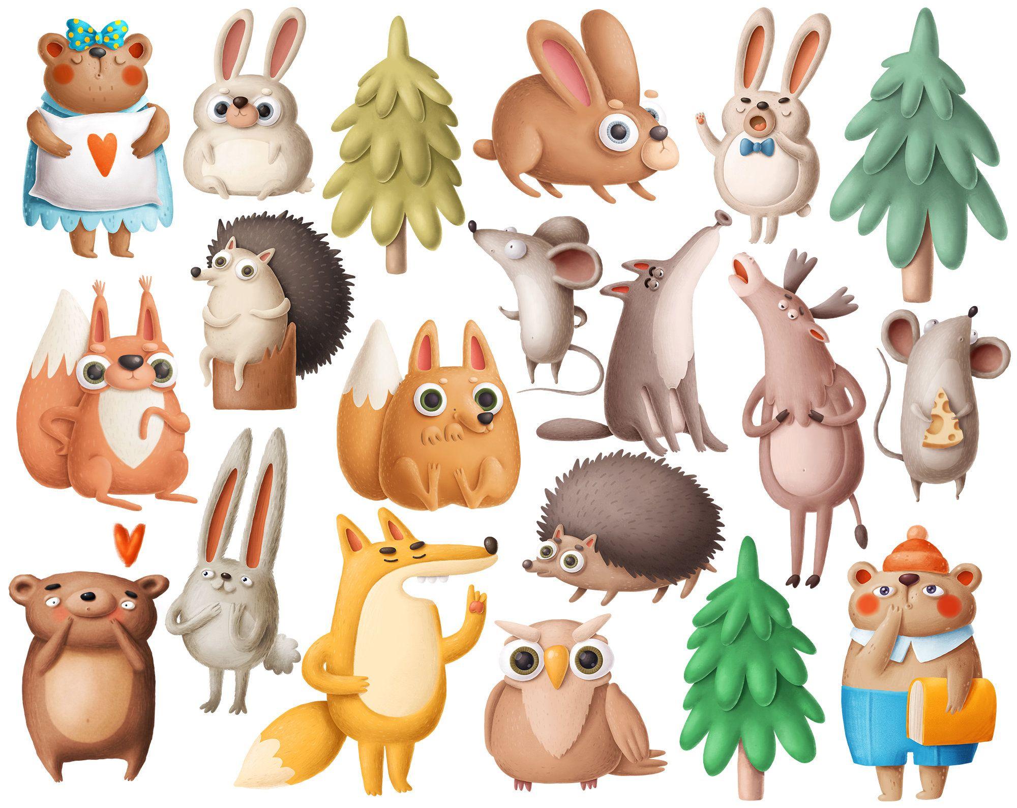 Woodland Animals Clipart Funny Cartoon Animals Forest Clip Etsy Animal Clipart Cartoon Animals Clip Art