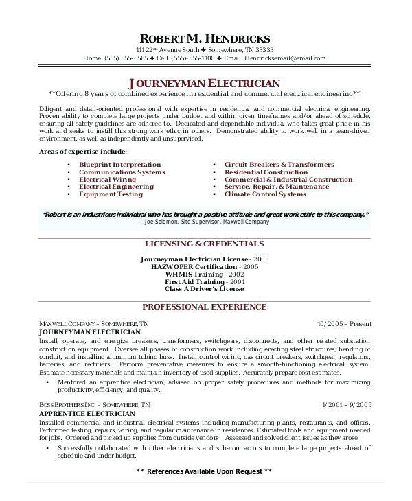 Electrical C License Resume Format Resume Format Sample Resume
