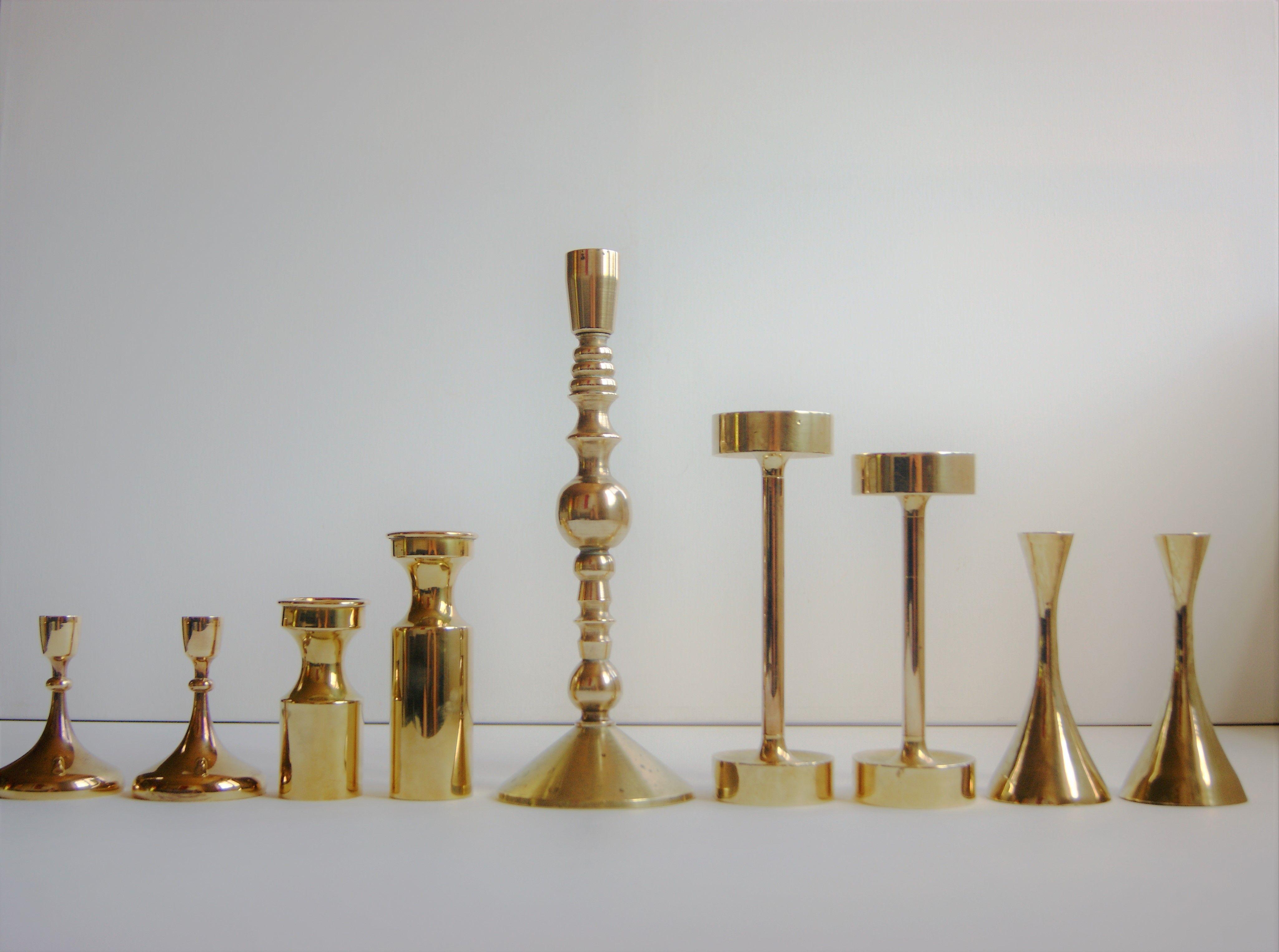 Vintage Brass Candle Holders Scandinavian Midcentury Design I 2020