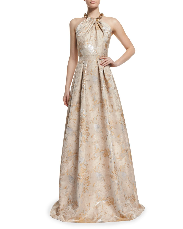 928bb64707d1 Beaded Halter Floral Jacquard Ball Gown, Women's, Size: 6, Beige - Carmen  Marc Valvo