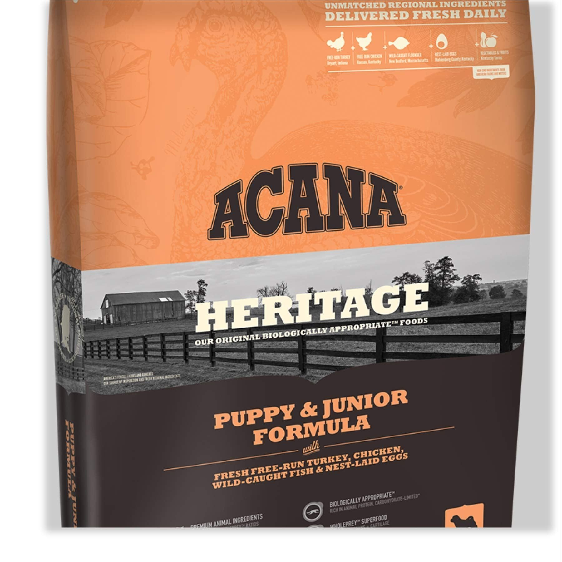 Acana Heritage Puppy Junior Dry Dog Food 25 Lb Bag Fresh Free