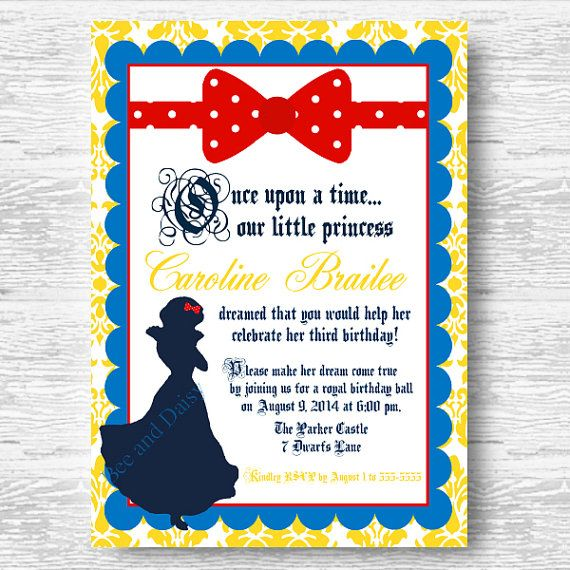 Snow White Invitation For Birthday Party Or Baby By Beeanddaisy