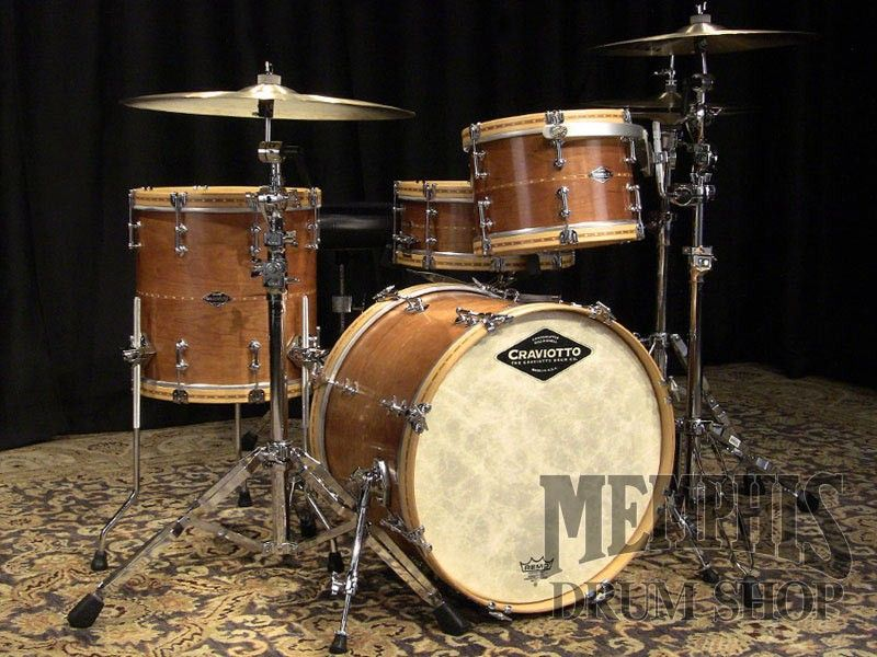 Craviotto Custom Shop Black Cherry Solid Shell Drum Set With Wood Hoops 20 12 14 14 Natural Oil Drums Drum Set Drum Cases