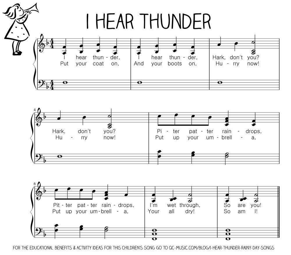 Let S Play Music Free Sheet Easy Piano I Hear Thunder Resource Section Of Loads For Nursery Rhymes And