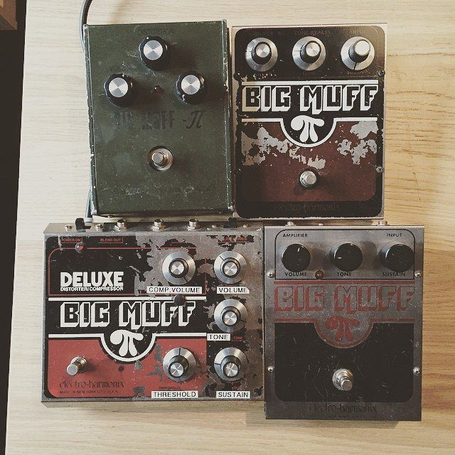 Which Big Muff is on your pedal board? Snow Patrol's Paul Wilson selects from these four beauties. @pablosnowpatrol @snowpatrolBand #ehx #ehxnyc #electroharmonix #bigmuffpi #bigmuff #muff #snowpatrol