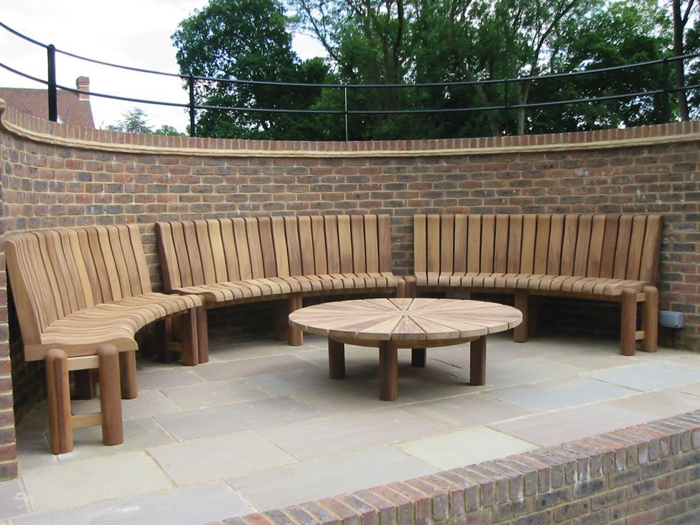 Luxury Bespoke Garden Furniture From Woodcraft Uk East Yorkshire Curved Outdoor Benches Wooden Garden Benches Garden Patio Furniture