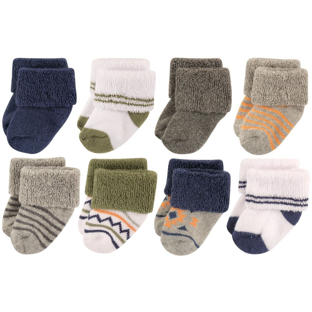 43b650167 Luvable Friends Baby 8 Pack Newborn Socks Boy Aztec 0-6 Months ...