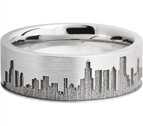 Cobalt Chrome 8mm Flat Band With Laser Carved Chicago Skyline Chicitylove Lashbrook Cobolt In 2020 Metal Wedding Bands Wedding Band Designs Mens Wedding Bands