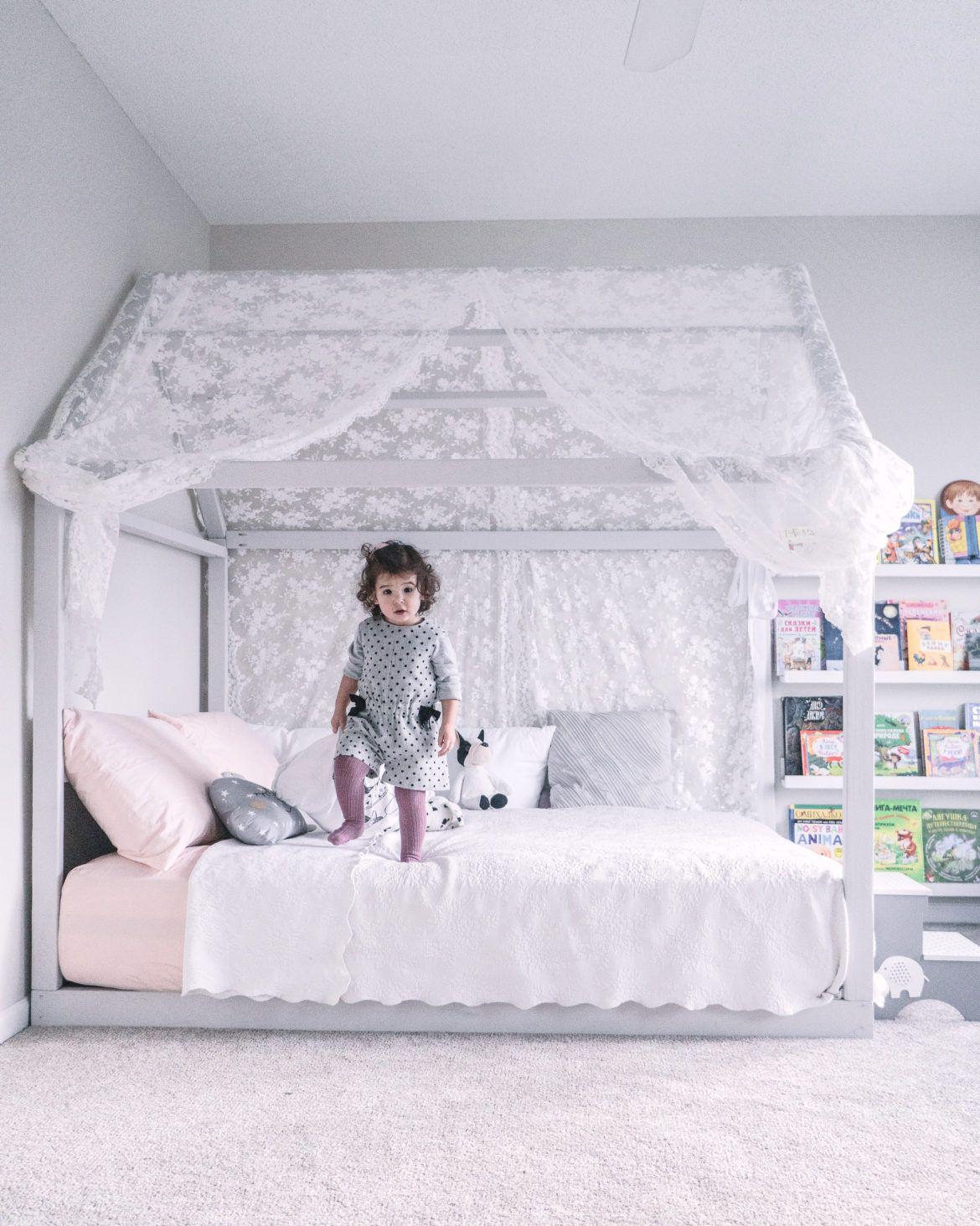 Diy montessori floor house bed in 2020 diy toddler bed