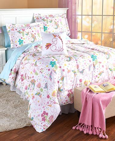 This Mermaid Or Unicorn Comforter Set Has Bright Colors And Fantastical Designs That Complement Her Lively Per Comforter Sets Twin Comforter Sets Fairy Bedroom