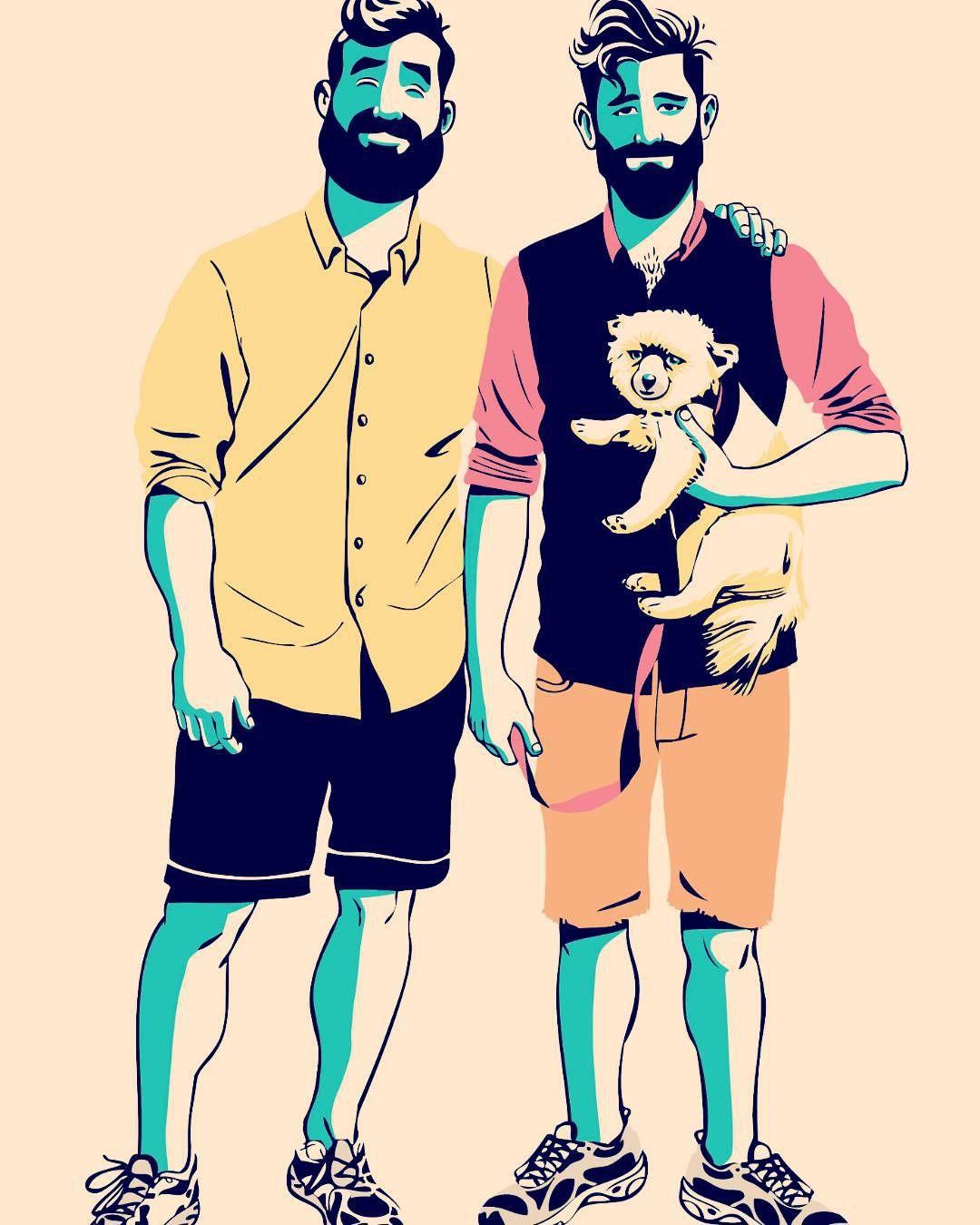 #gaycoupleart #gay #gaycouple #beards #diegofelizart #loveislove #queerart #queer #gaymen #gayillustration #gayromance #samelove #onelove by diegofelizart