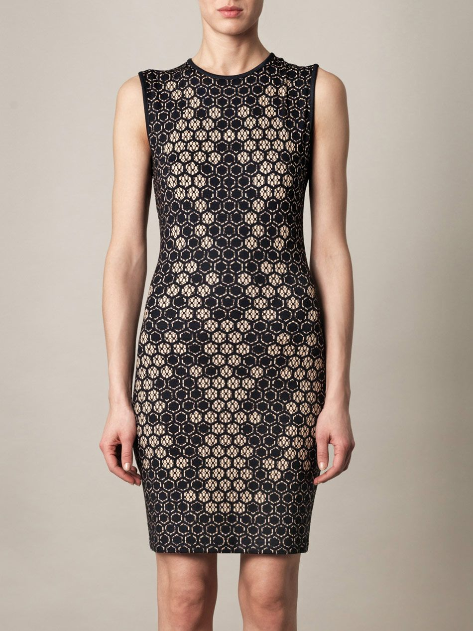 Alexander McQueen Honeycomb 3D intarsia-knit dress for women | Aewom