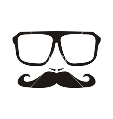 fa3b70826a0 Men face with mustache and black hipster glasses vector image on in ...