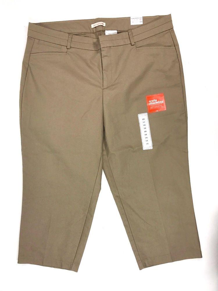 NWT Dockers Women's Ultra Stretch Cropped Pants Size 16 Slimming Tan/Khaki #DOCKERS #CasualPants #plussize $22.91