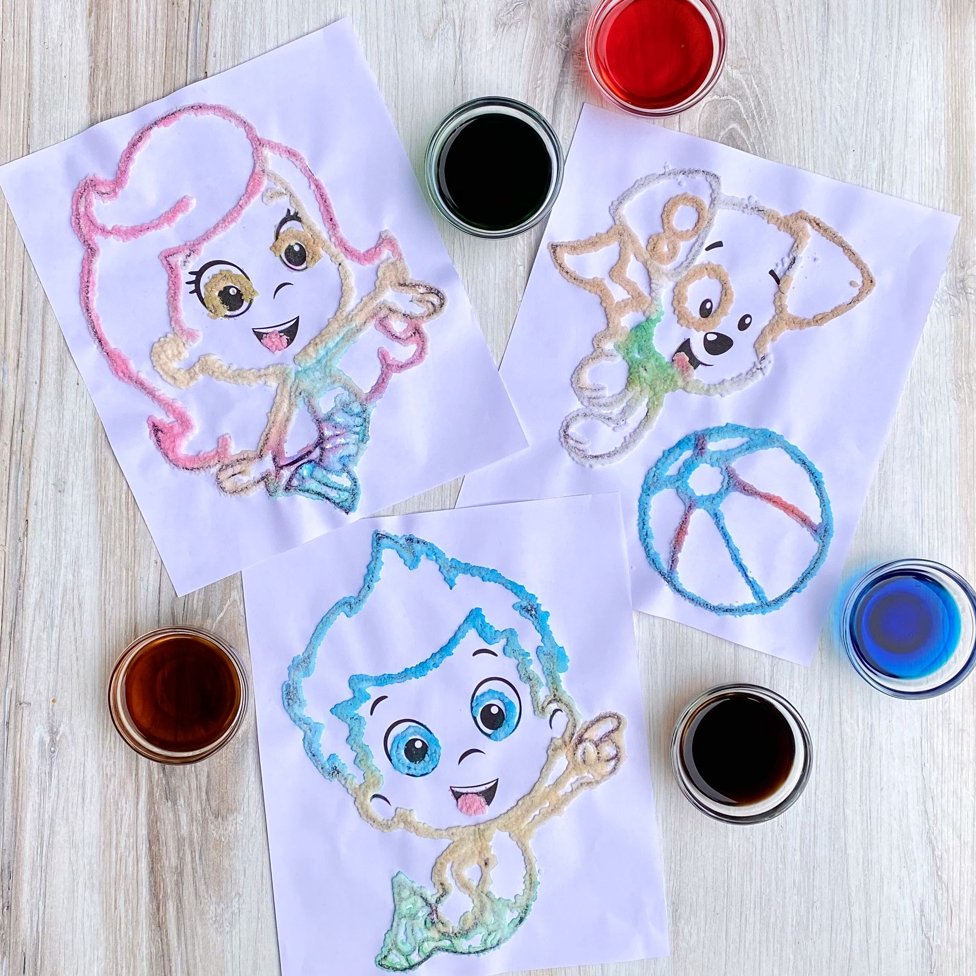 Salt Painting with the Bubble Guppies in 2020 Salt