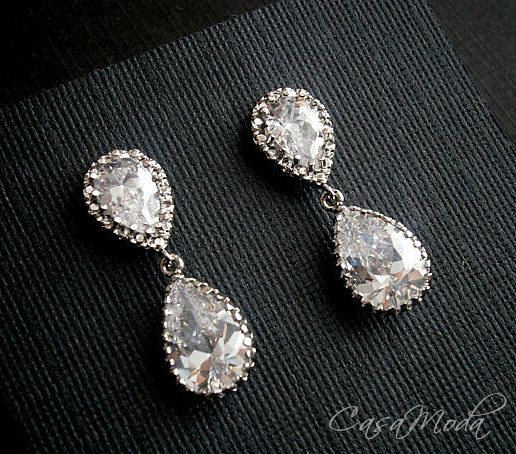 Bridal Crystal Earrings In Silver Settings With Cubic by casamoda, $38.00