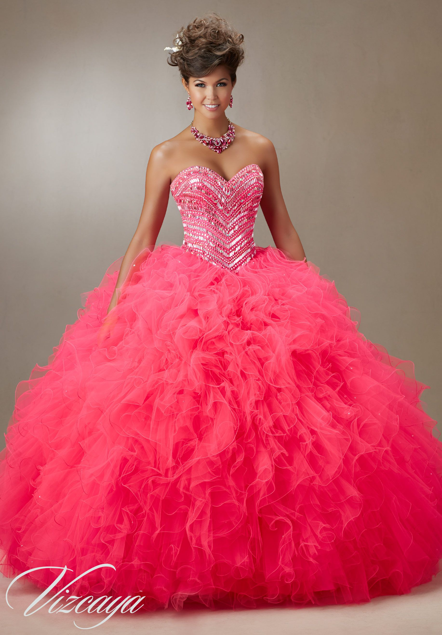 b401e64d430 89072 Quinceanera Gowns Jeweled Beading on a Ruffled Tulle Ball Gown ...