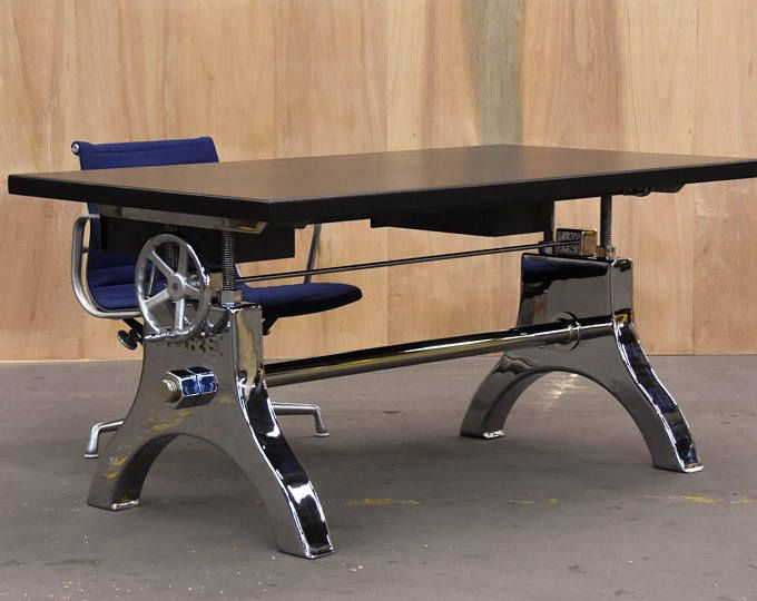 Industrial desk escritorio en 2019 armario industrial for Muebles de madera industrial acero