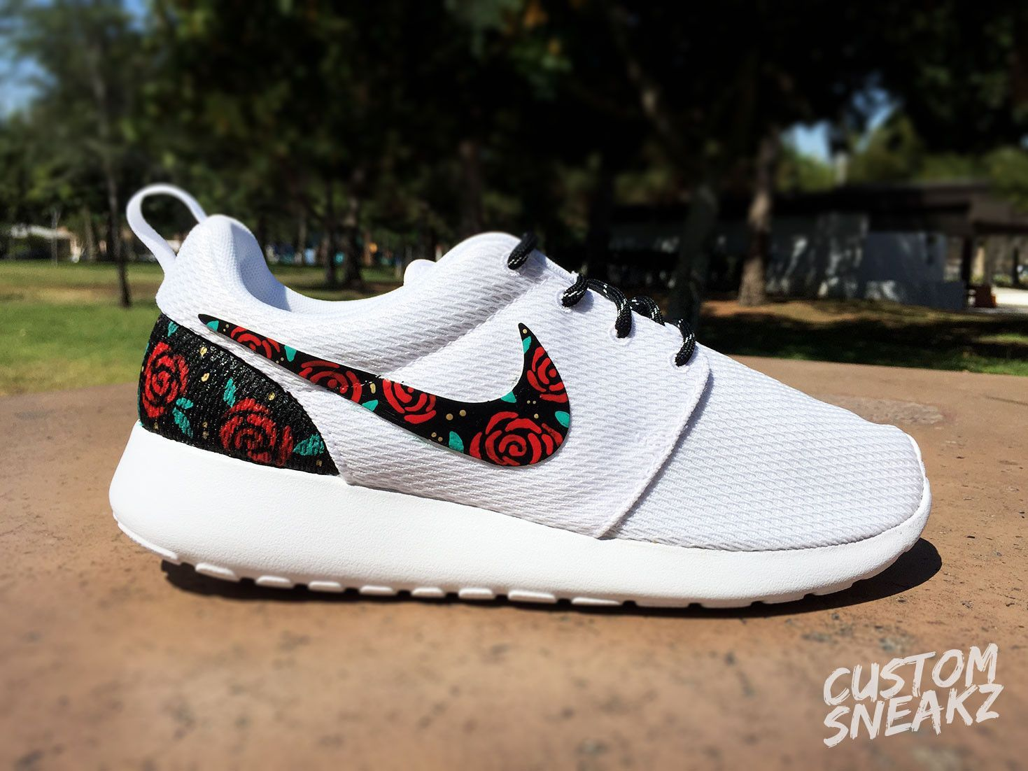 factory price 0bff0 b151f Womens Custom Nike Roshe Run sneakers, Rose Gold design, Red Roses with  teal leaves and gold speckles, Custom roshe run roses