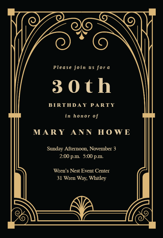 Art Deco Gate Birthday Invitation Template Free Greetings Island Party Invite Template Great Gatsby Invitation Gatsby Party Invitations