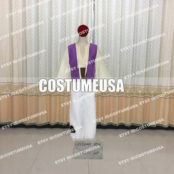 Custom made Size Aladdin Lamp Prince Aladdin Cosplay CostumeYou will Receieve:HatShirtPantsWaist BeltWe need those custom made size info from you, please.Total Height:Weight:Shoulder Width:Chest/Bust:Waist:Arm Length:Hip:Inseam:Cell Phone Number:To those who want to make it with standard size, please refer to the size chart. After you choose size chart, we still need some of your actual size. Thanks for your understanding.[****Male Size****]Size----Height----Chest----Waist----HipX-Small----64