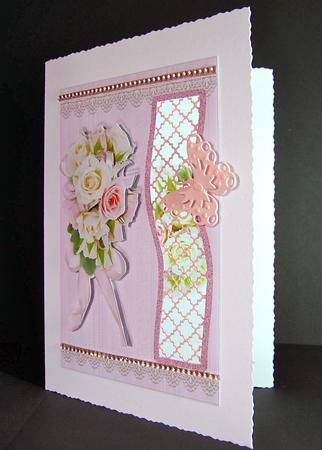 Card Gallery - Pink and Cream Roses Birthday Aperture Kit