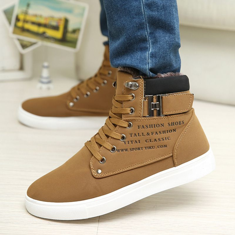 Men's Autumn High-Top Shoes Casual Lace-up Outdoor Martin Boots Rubber Flat Shoe