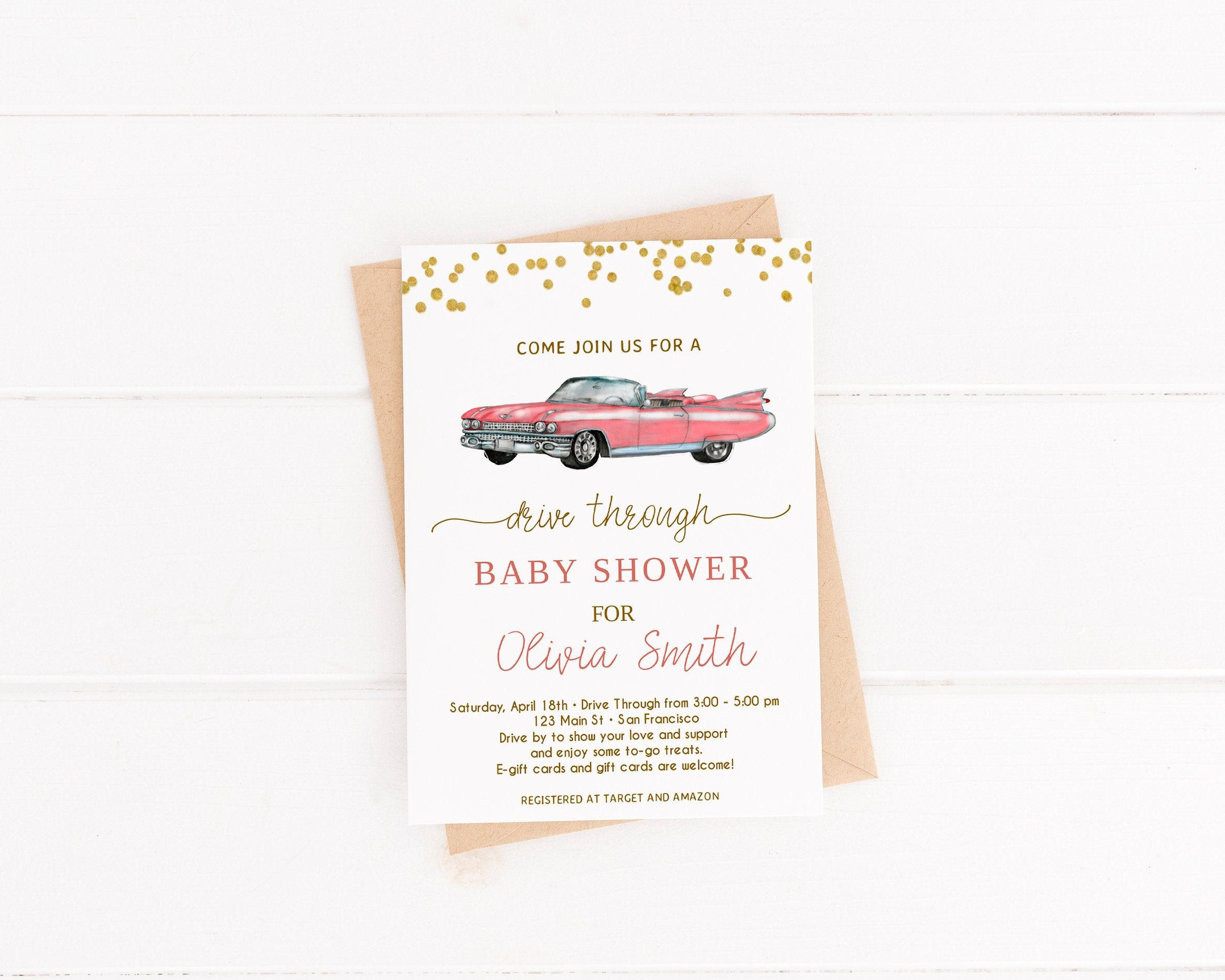 Drive through baby shower invitation driveby baby shower