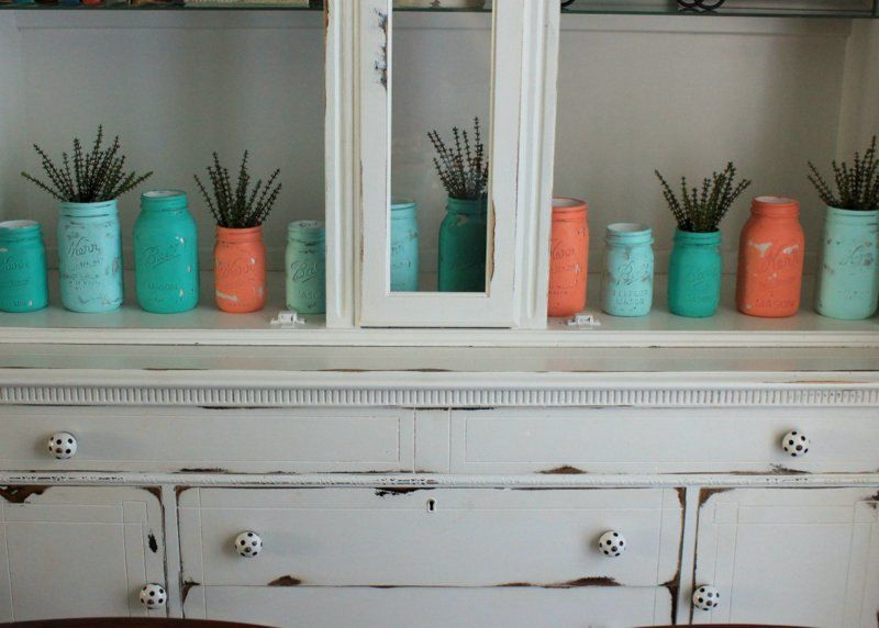 Sale teal turquoise aqua and coral painted mason jars for Teal coloured bathroom accessories