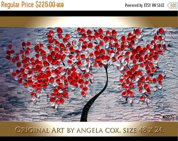 VENTE origine modernes fleurs rouges d'arbre peint à la main acrylique empâtement couteau à Palette peinture d'arbre. MADE2ORDER...
