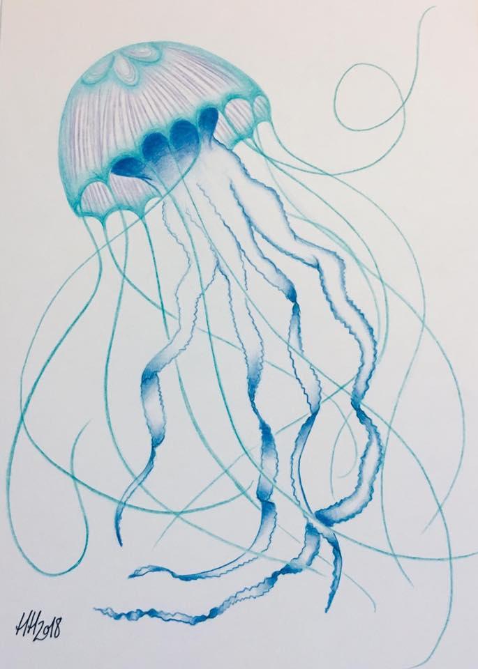 A4 Watercolour Blue Jellyfish Jellyfish Blue A4 Originalart Print Underthesea Art Drawing Tattymai Jellyfish Art Blue Jellyfish Jellyfish Illustration