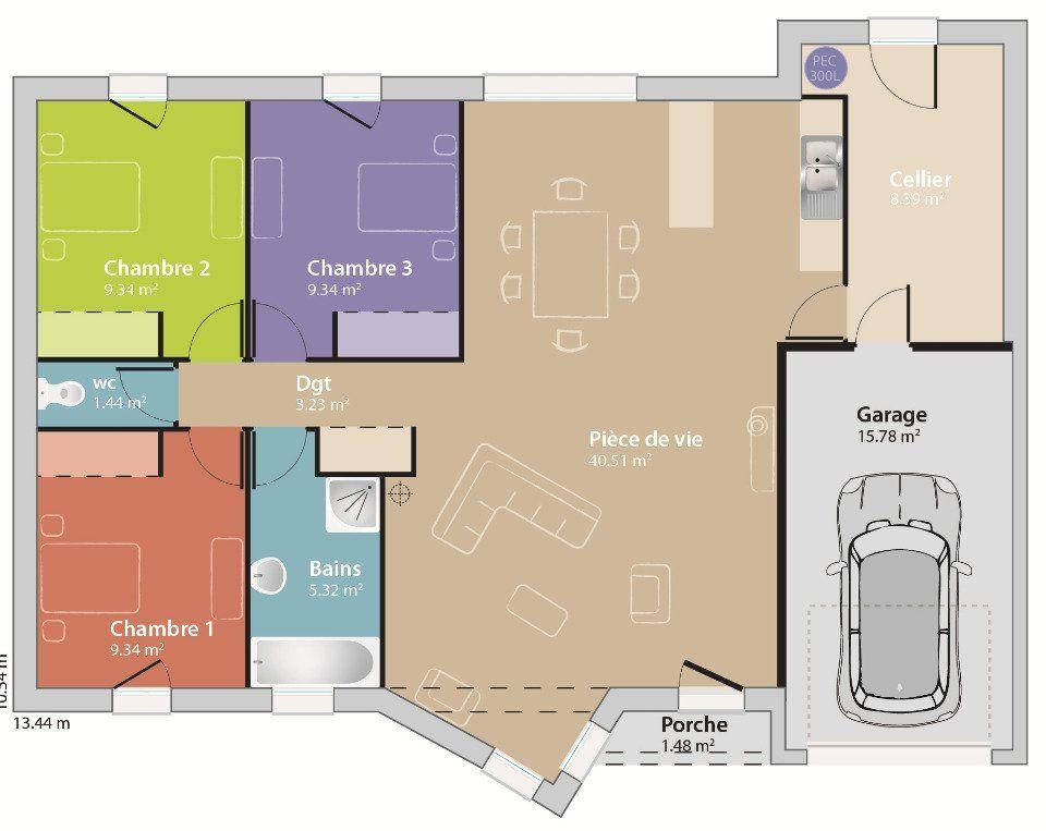 Plan achat maison neuve à construire - Maisons France Confort Eco - plan maison m chambres