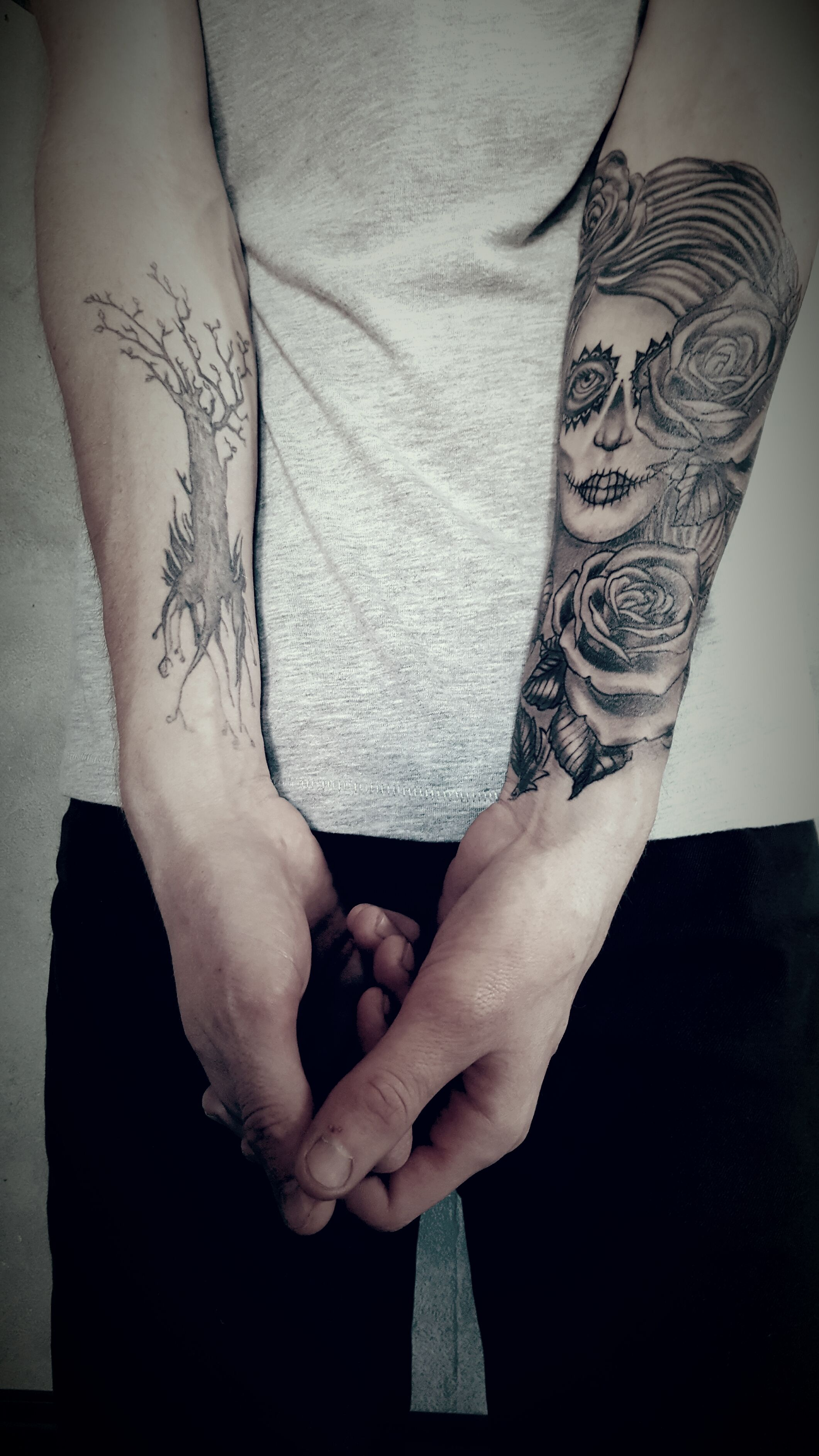 Tatouage Avant Bras Homme Santa Muerte Catrina Arbre Tattoo