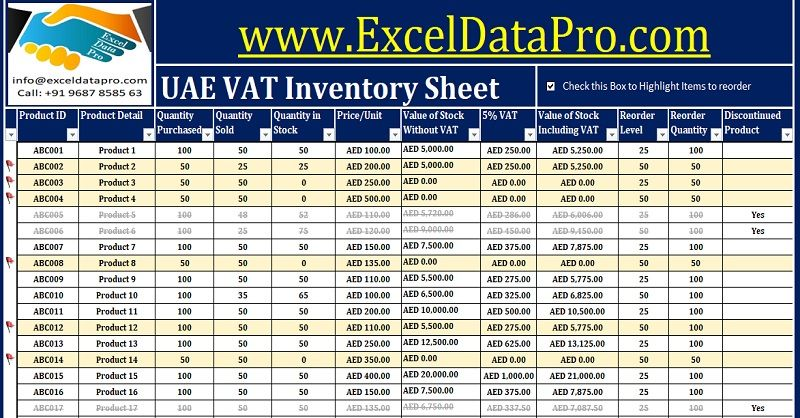 Download Uae Vat Inventory Management Excel Template  Uae