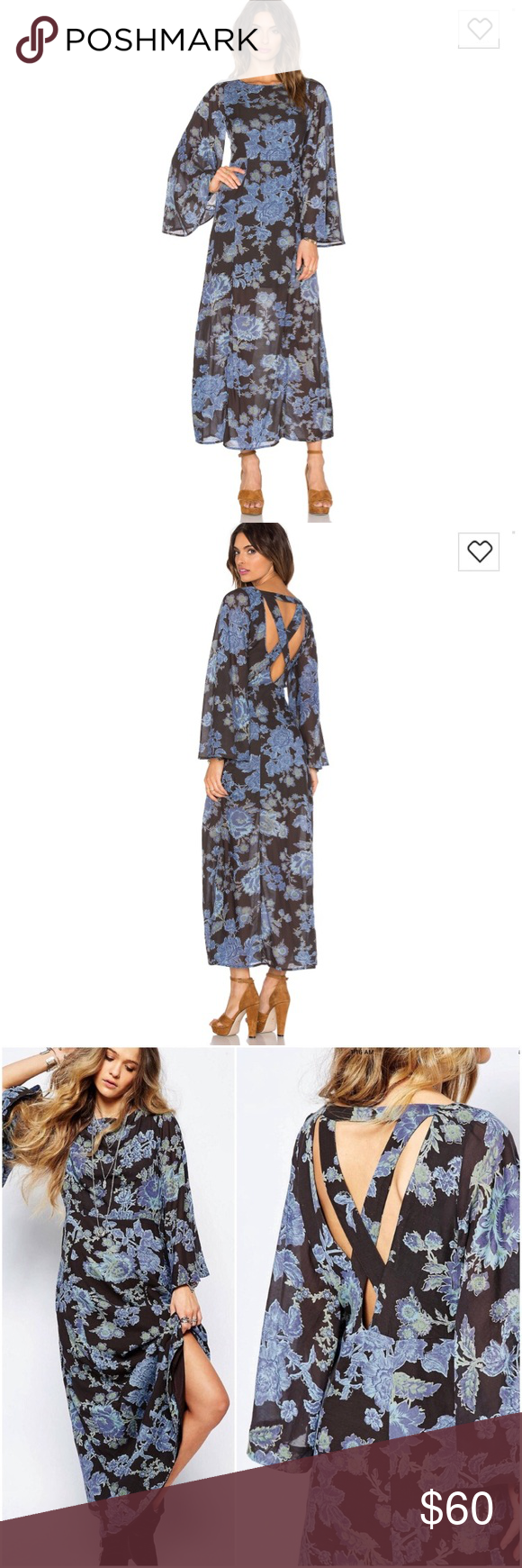 "5838d856ab7 New Free People Melrose Floral Boho Dress NWOT Free People Dress ""Melrose"" (night  combo) – stunning long black dress in blue floral print with bell sleeves  ..."