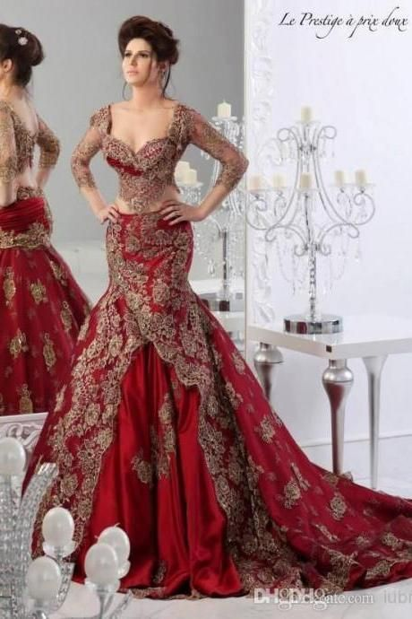 New Burgundy Wedding Dresses Satin Mermaid Gold Lace Applique Bridal Formal  Gown 3cb82d310fe8
