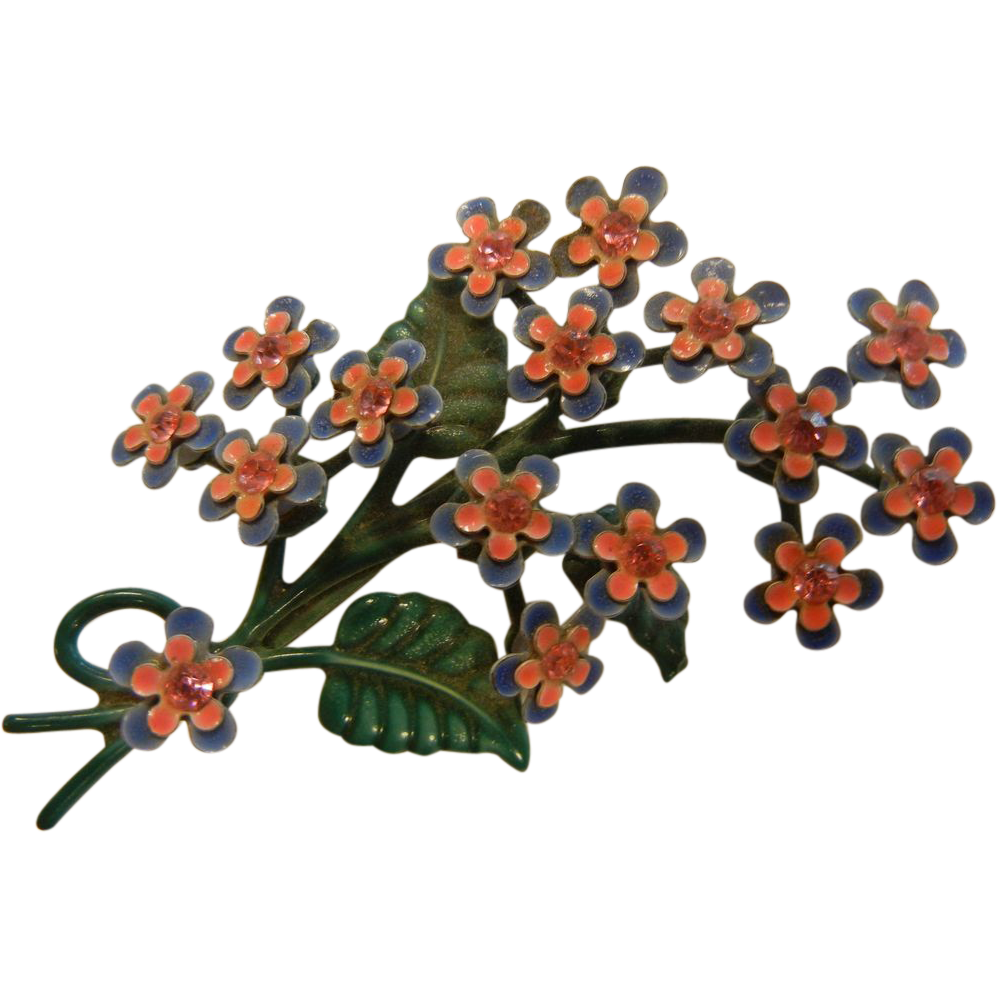Sweet vintage forget me not flower bouquet brooch from sylviasstore