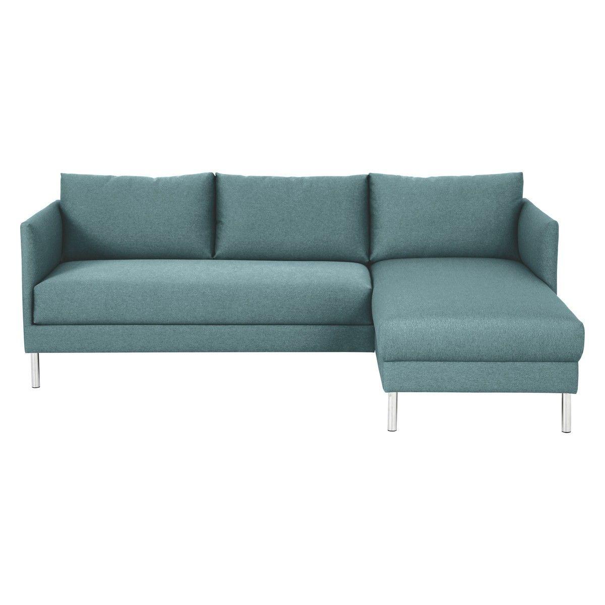 Hyde Teal Blue Fabric Right Arm Chaise Sofa Metal Legs Chaise Sofa Corner Sofa Sofa