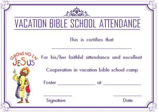 graphic regarding Vbs Certificate Printable named 12+ VBS Certification Templates for College students of Bible University