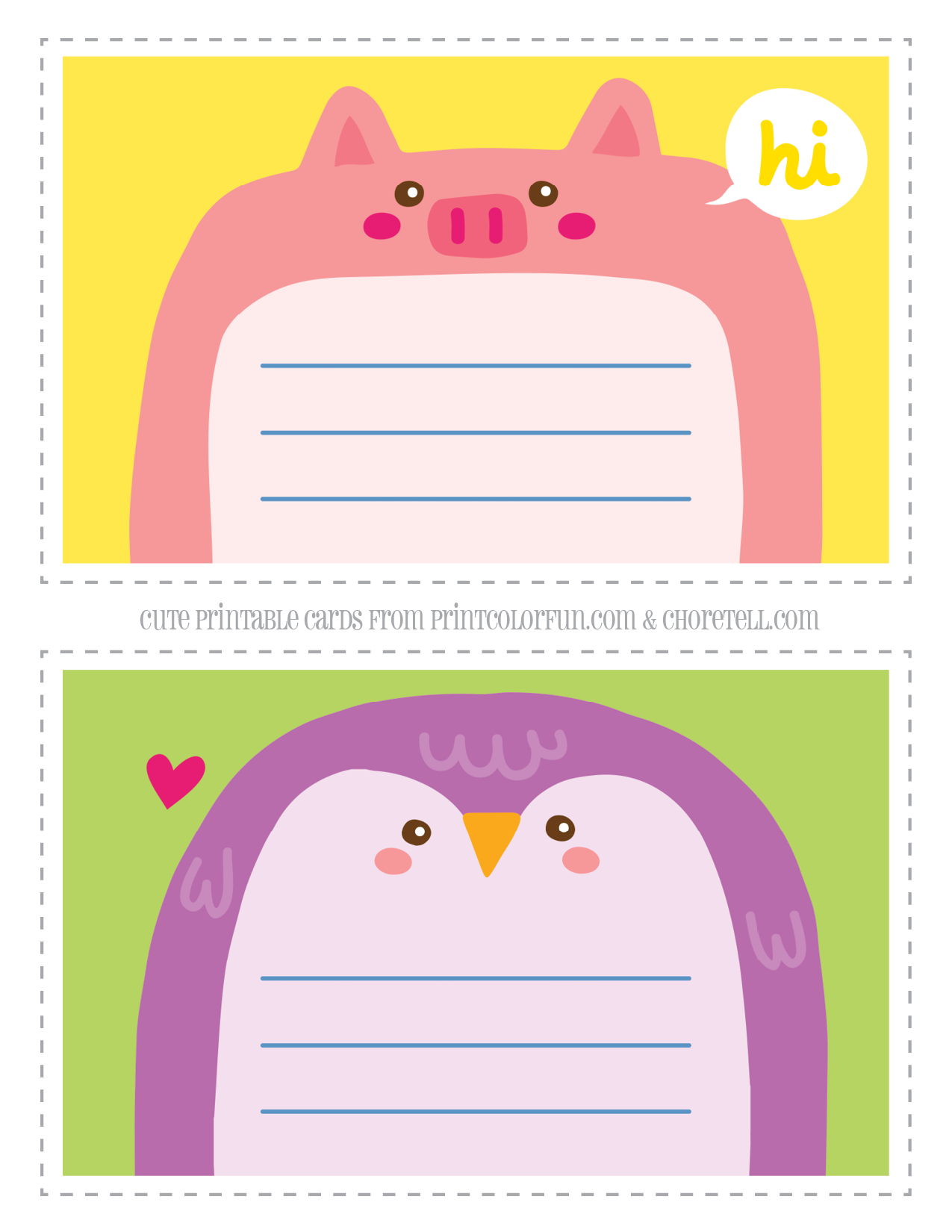 Adorable Animal Notecards For Kids Pig Penguin Coloring Page