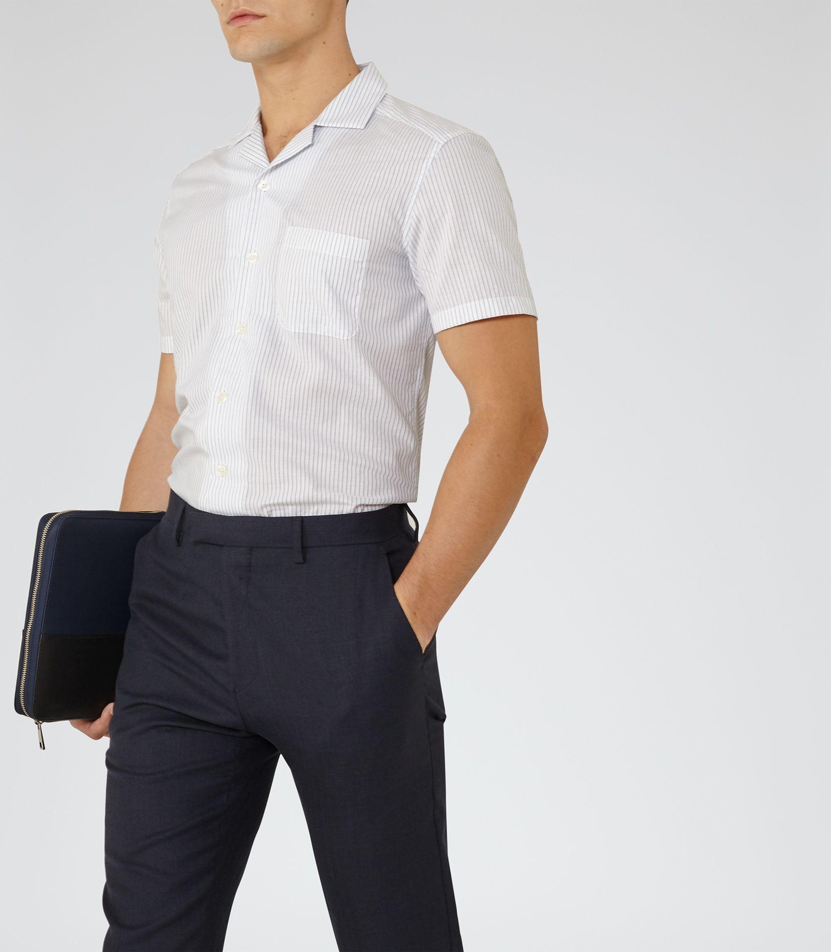 2daa5a644 Mens White Stripe Cuban Collar Shirt - Reiss Scarlet
